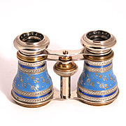 Antique 1890 Chevalier Paris Enamel and Silver Filigree Opera Glasses S817