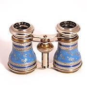 Antique 1890 Chevalier Paris Enamel and Silver Filigree Opera Glasses