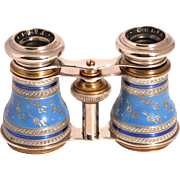 Antique 1890 Chevalier Paris Enamel and Silver Filigree Opera Glasses S817