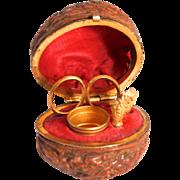 1860 French Fashion Doll Walnut Shell  Miniature Sewing Necessaire  Complete Set Scissore Needle Case Bodkin Stiletto Thimble S817