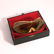 Antique 1910 Paris Made Touring Goggles Gold Plated Original Signed Box Classic and Vintage Autos and Cars