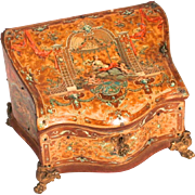 1870 French Polychrome Jewellery Box with Decorative Putti