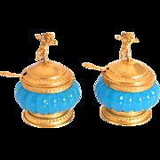 1850 Napoleon III Period French Gold Gilt Opaline Glass Cherubs Putti Angels Salts Condiment Set Antiques S817