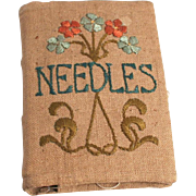 Victorian Abel Morrall of Redditch Needle Book with Hand Embroidery Cover