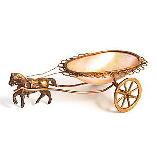 Palais Royal 1860 Horse and Trinket Bowl Cart for Jewellery and Dressing Table Decoration