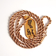 Vintage 9 Karat Rose  Gold Double Twist Chain and Egyptian Gold Pendant 16 Inches