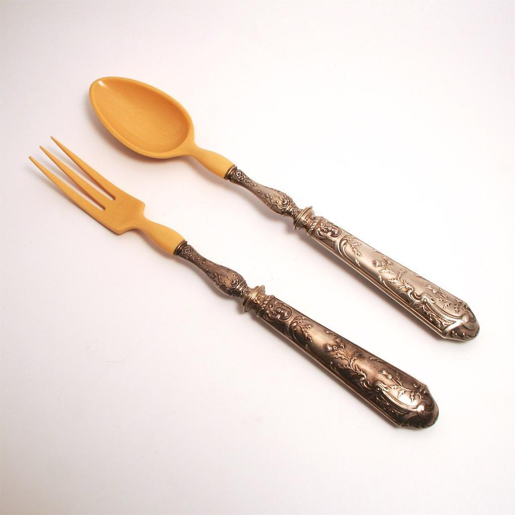 Art Nouveau 1900 French Minerva Head Silver and Celluloid Table Serving Fork and Spoon in Leather Case