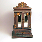 Antique French 1850 Napoleon III Armoire Jewellery Box Bevelled Mirrors Miniature Paintings Gilded Decorations Silk Lined S817