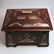 1830 Ladies Sewing Work Box Signed Austin of Dublin Ireland Walnut Mother of Pearl Inlay Silk