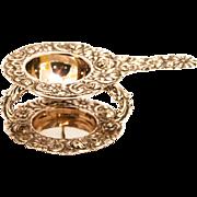 Antique Rose Silver Tea Strainer and Stand German Hallmarks 1860