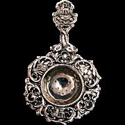 Antique German Ornate Silver Tea Strainer Nautical Figural Decoration