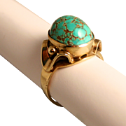 Vintage German Turquoise Stone and 8 Karat 333 Gold Ring