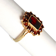 Antique Victorian Jewellery 15 Stone Garnet and Sterling Gilt Silver Ring