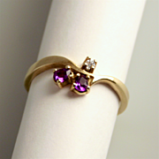 Vintage Amethyst and Diamond 8 Karat 333 Gold Ring