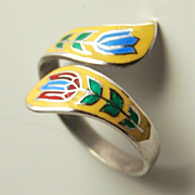 Vintage Sterling Silver Enamel Thailand Adjustable Ring Lotus Flower Motifs