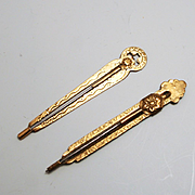 A Pair 2 Travelling Tambour or Crochet Sliding Hooks Brass English 1850