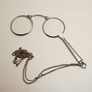 Art Deco Chrome Pendant Lorgnette with Silver Chain Eye Glasses with Handle