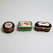 3 Vintage French Porcelain Enamel Hinged Lid Boxes Limoges