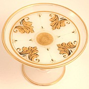 Napoleon III Opaline Glass Coupe Gilded Decoration French
