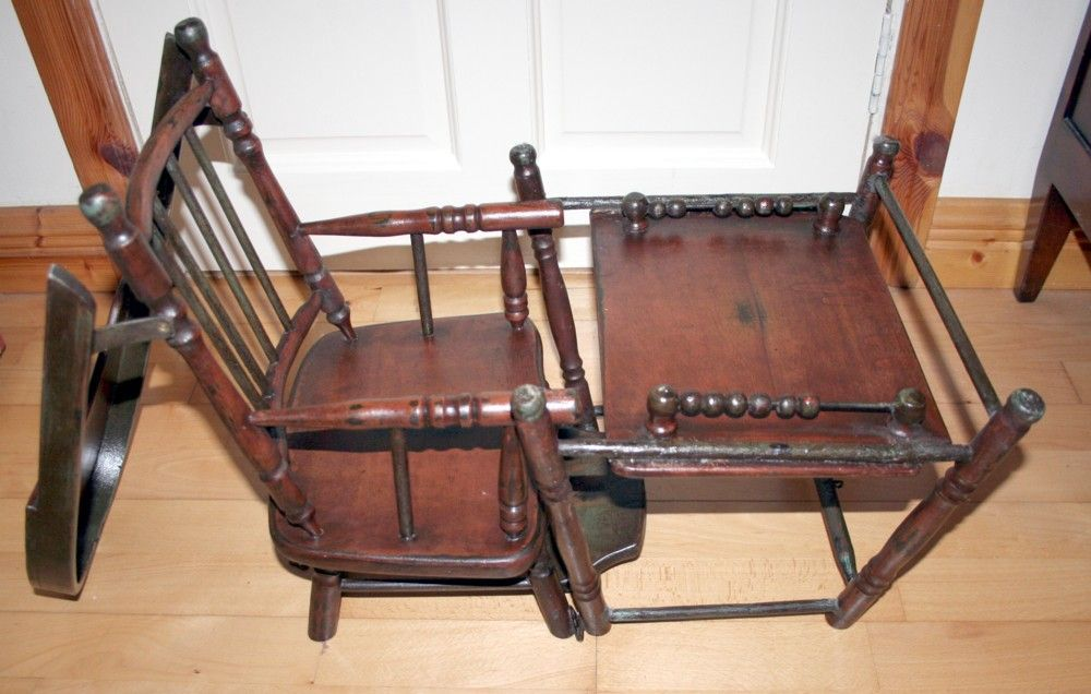 Victorian Rare and Unique Dolls Multi Purpose High Chair converts into Play Desk 19c Hard Wood Hand Crafted