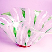 Antique Glass Latticino Handkerchief Vase Murano Venice Italy