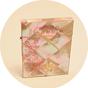 Antique Card Case Carte de Visite Mother of Pearl Etched Carved Pink Butterfly Dragon Fly Business Cards