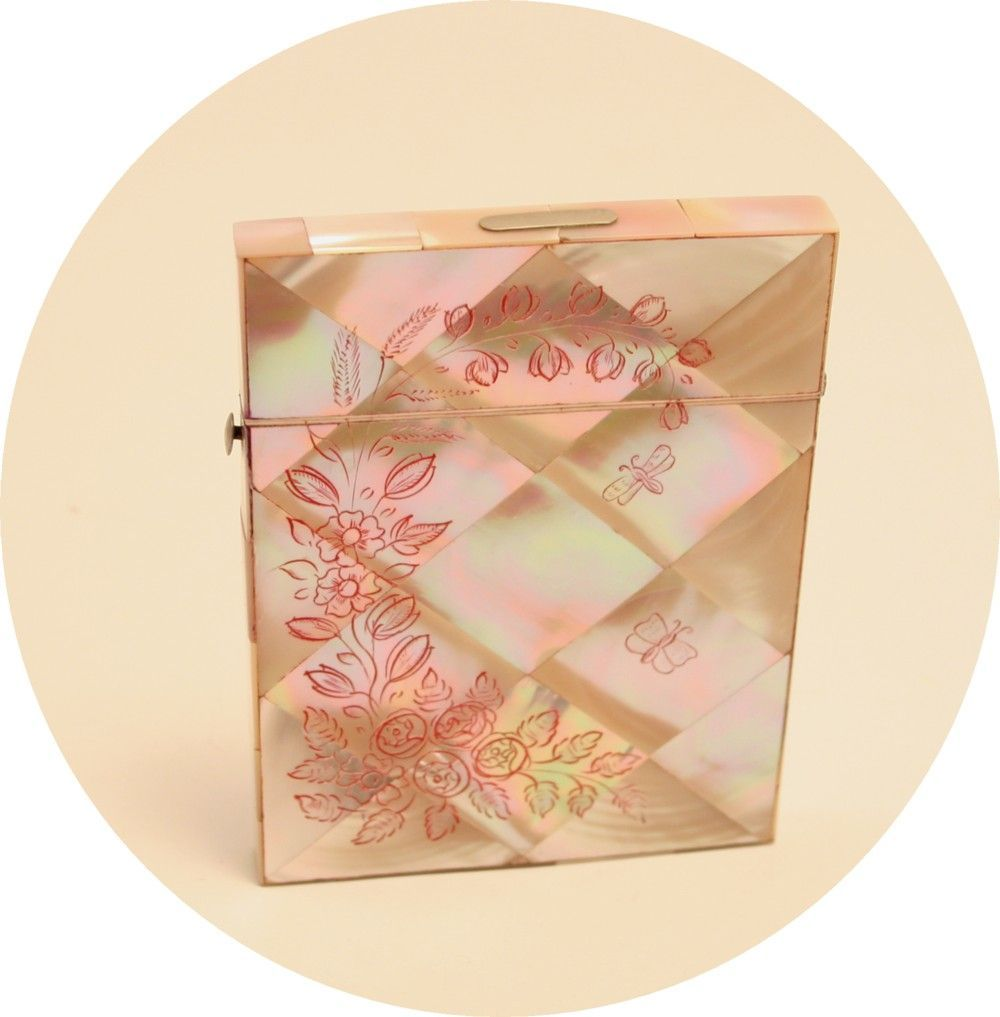 Antique Card Case Carte de Visite Mother of Pearl Etched Carved ...