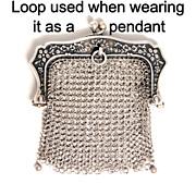 French Silver Porte Monai Debutant's Purse 1860 Pendant