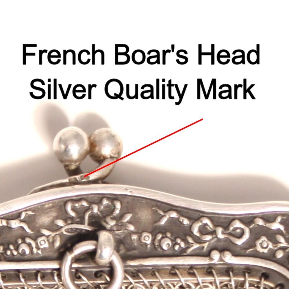 French silver porte monai debutant 39 s purse 1860 pendant for French porte