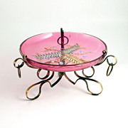 Napoleon III Pink Ruby Glass Coupe with Impasto Enamel Decoration on Bronze Stand