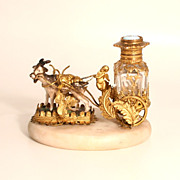 A Fabulous Palais Royal 1860 French Fawn Reindeer and Putto Cherub Scent Cart with Enamel and Gold Gilt Scent Bottle