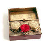 19C Austrian Traveling Inkwells with Writing Pen Brush in Moroccan Leather Case