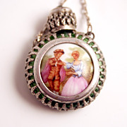 1910 Austrian Miniature Enamel Picture and Silver Scent Flacon Pendant Brooch