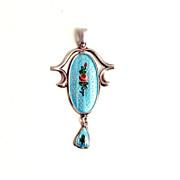 Antique 1900 Guilloche Enamel Charles Horner Art Nouveau Sterling Silver Pendant