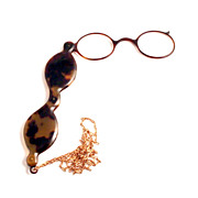 Antique 1850 French Tortoiseshell Lorgnette with Gold Fill Chain S817