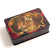 1885 Papier Mache Lacquered Box with Cherubs Angels Putti