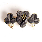 1860 Irish Bog Oak Brooch with Shamrocks and Harp