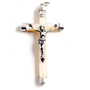 A 19c French Silver and Mother of Pearl Pendant Crucifix 3  inches by 1 3/4 inches