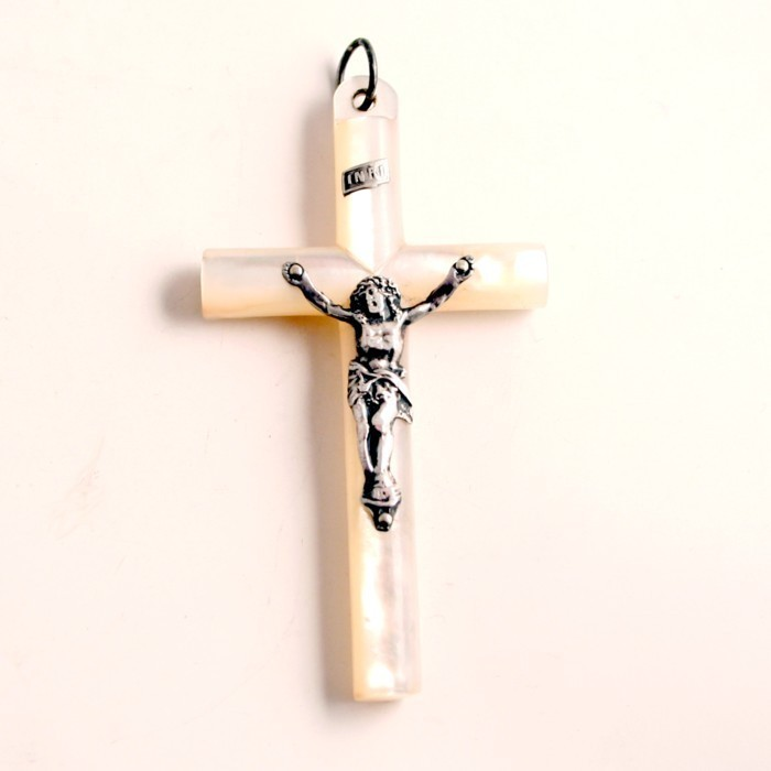 Antique 19C Cross Crucifix Silver Mother of Pearl from Jerusalem