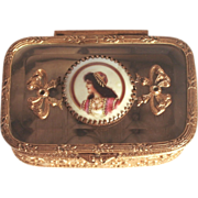 Napoleon III Period 1860 French Enamel and Gilded Jewellery Casket