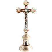 1890 Micro Mosaic  Rome Pedestal Crucifix Cross 12 Inches High