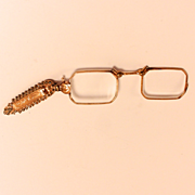 A Double Gold with Marcasites Lapel Brooch Lorgnette Eye Glasses Spectacles S917