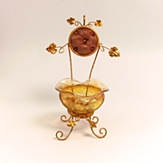 A Beautiful  Napoleon III Paris  Amber Glass  and Ormolu Signed Jewellery and Watch Stand for your Dressing Table