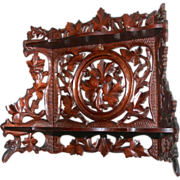 1880 Black Forest Hand Carved Folding Double Shelf Oak Leaves and Acorns