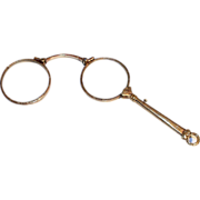 Antique 1880 French Double Gold Pendant Lorgnette Eye Glasses Spectacles with Handle