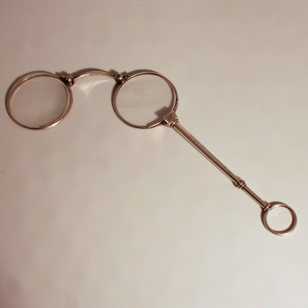 A Silver 935 Pendant Lorgnette French Eye Glasses Spectacles on a Handle