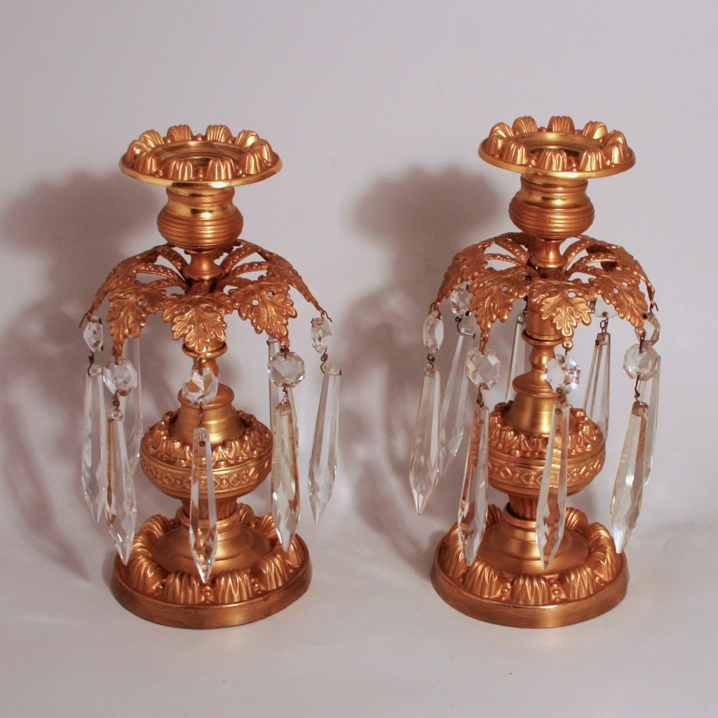Antique 1870 French Ormolu and Crystal Candlesticks