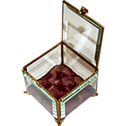 Antique French Jewellery Box Glass and Ormolu 1880