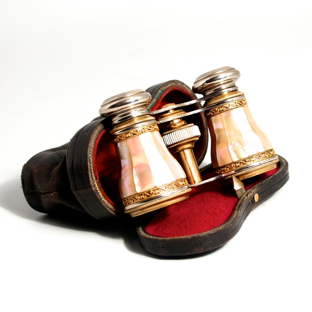 19c Antique Colmont Of Paris Opera Glasses with Leather Case Mother of Pearl with Gold Gilt Borders