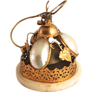 1880 Paris Palais Royal Bordello Bell Mother of Pearl and Ormolu with Vines and Grape Decorations  in Perfect Working Order